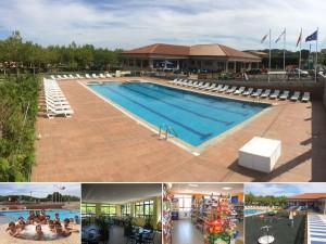 Vista piscina Camping Paisaxe - O Grove