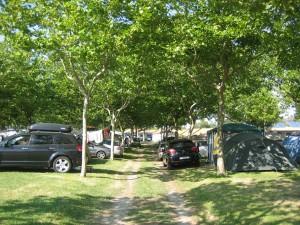 Zona de sombra en las parcelas de Camping Paisaxe